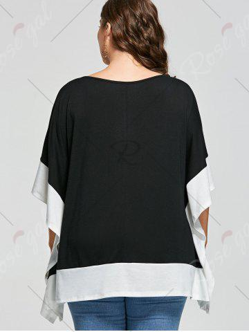 New Plus Size Batwing Sleeve Two Tone Top - XL WHITE AND BLACK Mobile