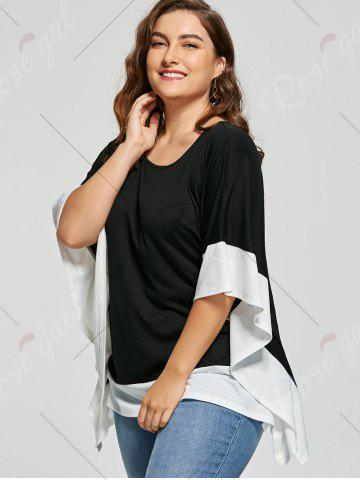 Outfits Plus Size Batwing Sleeve Two Tone Top - XL WHITE AND BLACK Mobile