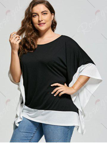 Cheap Plus Size Batwing Sleeve Two Tone Top - XL WHITE AND BLACK Mobile
