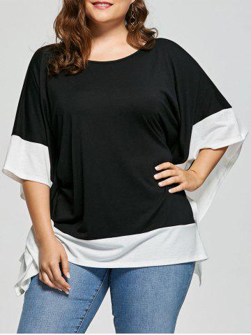 Cheap Plus Size Batwing Sleeve Two Tone Top