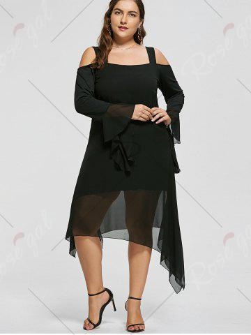Hot Plus Size Asymmetric Flare Sleeve Cold Shoulder Dress - XL BLACK Mobile