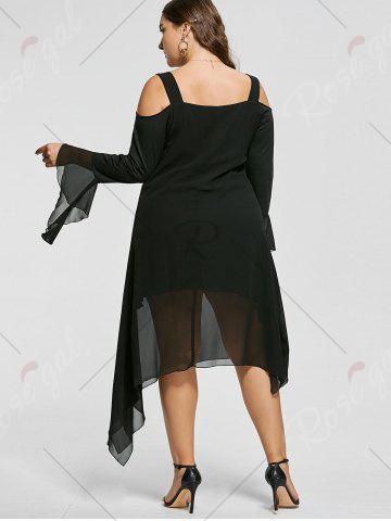 Discount Plus Size Asymmetric Flare Sleeve Cold Shoulder Dress - XL BLACK Mobile