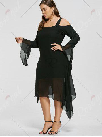 Fashion Plus Size Asymmetric Flare Sleeve Cold Shoulder Dress - XL BLACK Mobile