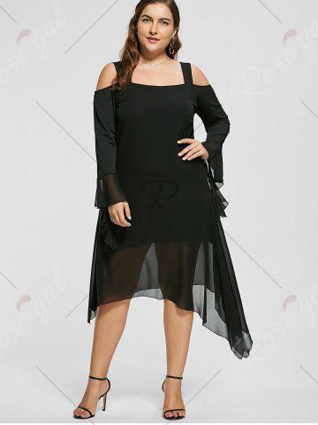 Buy Plus Size Asymmetric Flare Sleeve Cold Shoulder Dress - XL BLACK Mobile
