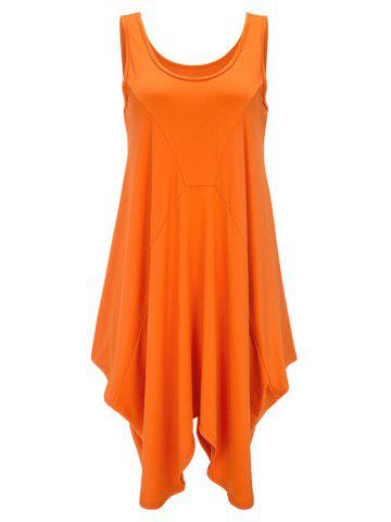 Débardeur asymétrique Long U Neck Orange Clair XL