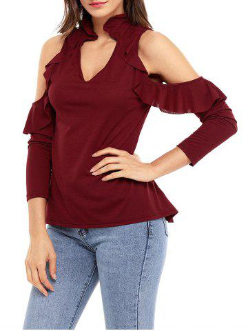 Fancy V Neck Cold Shoulder Ruffle Top - S WINE RED Mobile