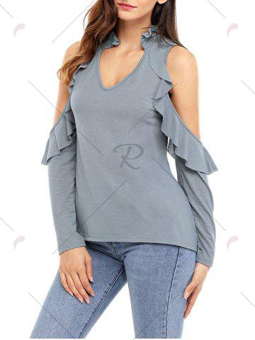 New V Neck Cold Shoulder Ruffle Top - S GRAY Mobile