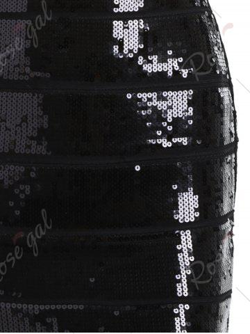 Discount Night Out Bronzing Sequin Bandage Dress - L BLACK Mobile