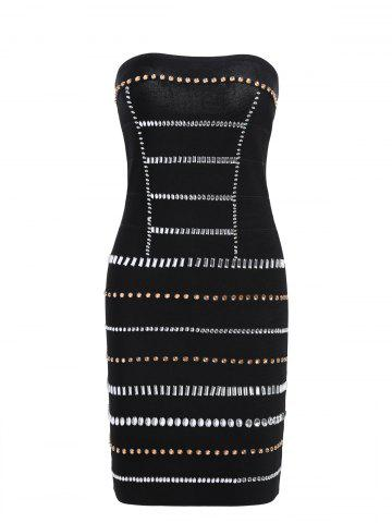 Chic Strapless Beaded Bandeau Bandage Sheath Dress - M BLACK Mobile