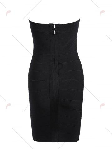 Discount Night Out Beaded Bandeau Bandage Dress - M BLACK Mobile