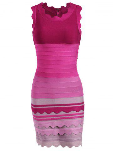 Latest Ombre Color Night Out Bandage Dress - L ROSE RED Mobile