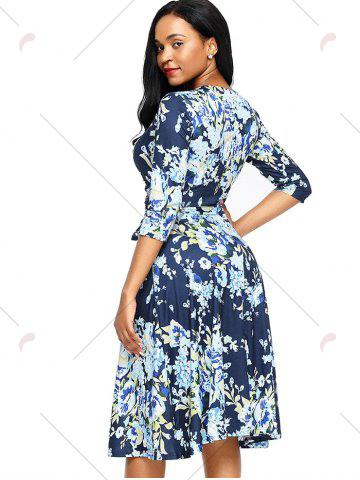 Unique Midi Floral Wrap Dress - S BLUE Mobile