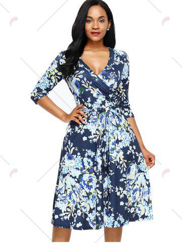 Online Midi Floral Wrap Dress - S BLUE Mobile