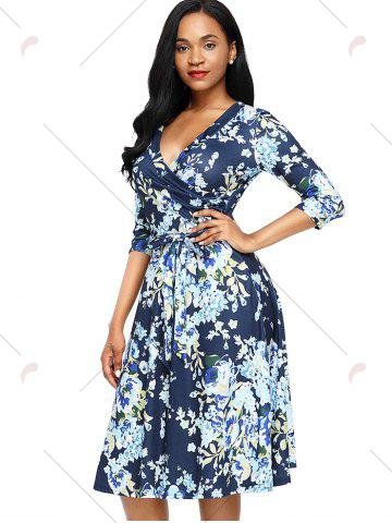 Affordable Midi Floral Wrap Dress - S BLUE Mobile