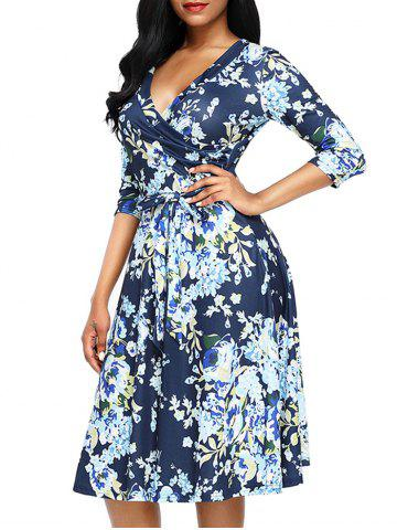Sale Midi Floral Wrap Dress - S BLUE Mobile