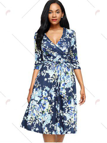 Latest Midi Floral Wrap Dress - S BLUE Mobile