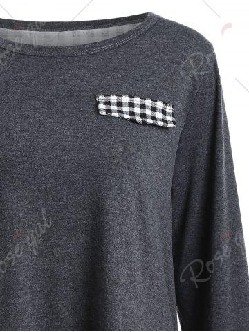 Latest Plaid Panel Back Slit High Low Top - S GRAY Mobile
