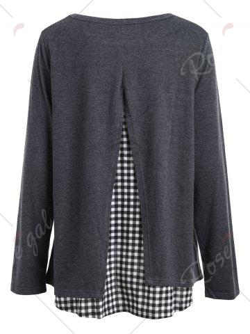 Chic Plaid Panel Back Slit High Low Top - S GRAY Mobile