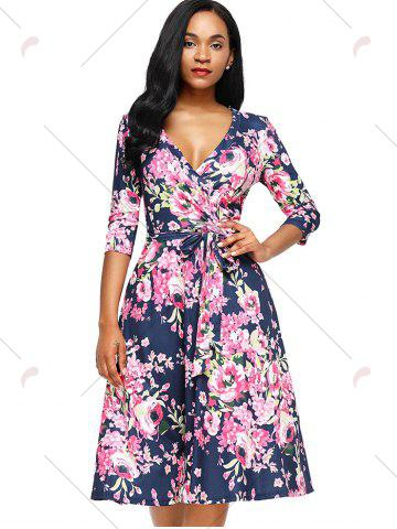 Chic Midi Floral Wrap Dress - S ROSE RED Mobile