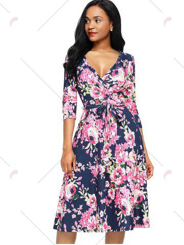 Trendy Midi Floral Wrap Dress - S ROSE RED Mobile