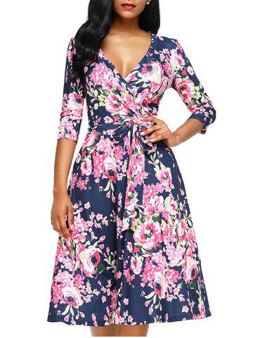 Sale Midi Floral Wrap Dress - S ROSE RED Mobile