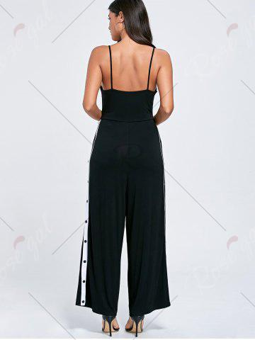 Shop High Slit Color Block Buttoned Slip Jumpsuit - M BLACK Mobile