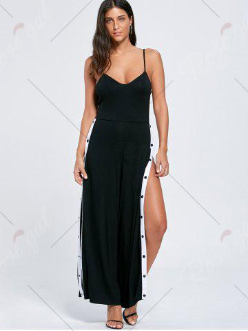 New High Slit Color Block Buttoned Slip Jumpsuit - M BLACK Mobile