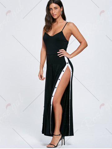 Store High Slit Color Block Buttoned Slip Jumpsuit - M BLACK Mobile