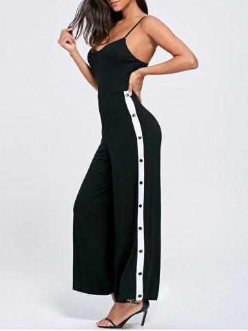 Unique High Slit Color Block Buttoned Slip Jumpsuit - XL BLACK Mobile