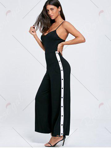 Fashion High Slit Color Block Buttoned Slip Jumpsuit - XL BLACK Mobile