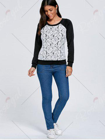 Outfits Raglan Sleeve Lace Trim Floral Sweatshirt - M BLACK + WHITE Mobile