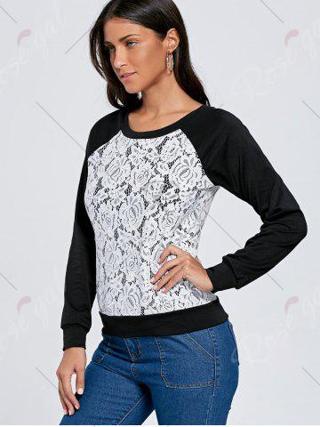 Outfits Raglan Sleeve Lace Trim Floral Sweatshirt - XL BLACK + WHITE Mobile