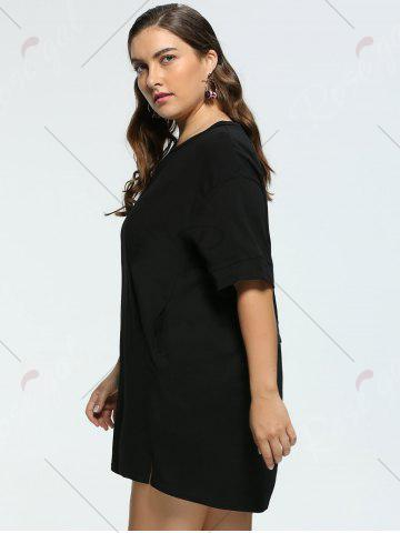 Outfit Long Back Lace Up Plus Size Tunic T-shirt - 2XL BLACK Mobile