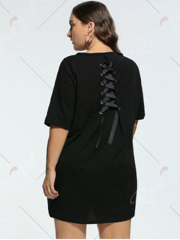 Online Long Back Lace Up Plus Size Tunic T-shirt - 2XL BLACK Mobile
