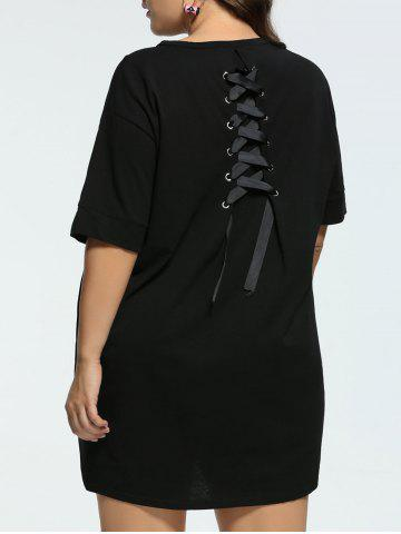 Long Back Lace Up Plus Size Tunic T-shirt - Black - 3xl