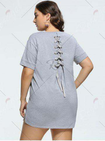 New Long Back Lace Up Plus Size Tunic T-shirt - 4XL GRAY Mobile
