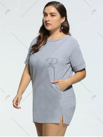 Affordable Long Back Lace Up Plus Size Tunic T-shirt - 4XL GRAY Mobile