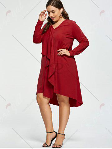 Latest Plus Size V-neck High Low Party Dress - XL RED Mobile
