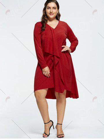 Online Plus Size V-neck High Low Party Dress - XL RED Mobile