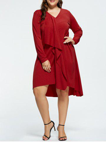 Plus Size V-neck High Low Party Dress - Red - 5xl
