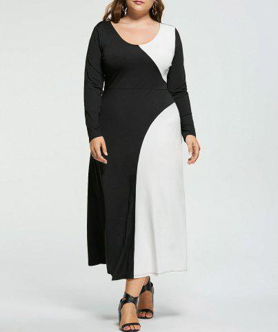Fancy Plus Size Two Tone Long Sleeve Casual Maxi Dress - XL WHITE AND BLACK Mobile