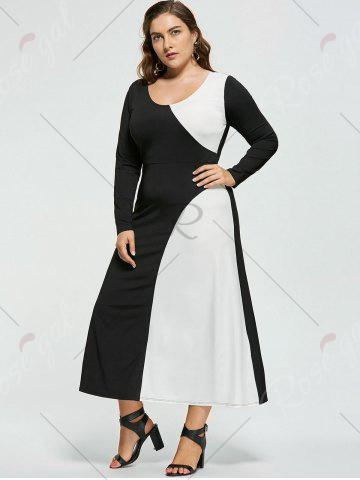 Shops Plus Size Two Tone Long Sleeve Casual Maxi Dress - XL WHITE AND BLACK Mobile