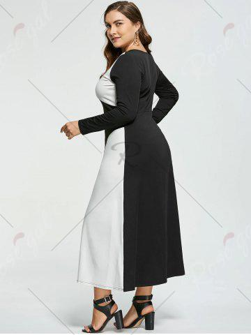 Outfit Plus Size Two Tone Long Sleeve Casual Maxi Dress - XL WHITE AND BLACK Mobile