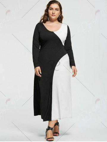 Best Plus Size Two Tone Long Sleeve Casual Maxi Dress - XL WHITE AND BLACK Mobile