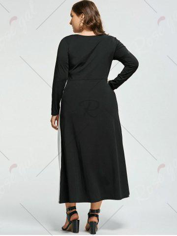 Chic Plus Size Two Tone Long Sleeve Casual Maxi Dress - XL WHITE AND BLACK Mobile