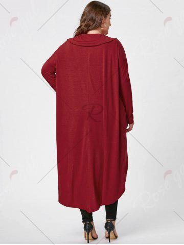 Affordable Plus Size Longline Cowl Neck Top - XL RED Mobile
