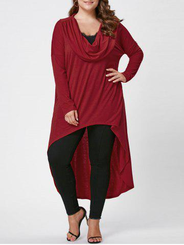 Shop Plus Size Longline Cowl Neck Top RED XL