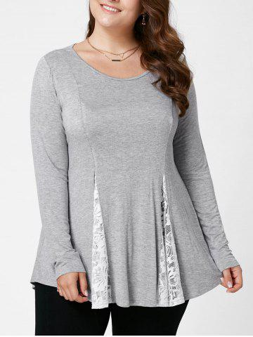 Fashion Plus Size Lace Panel Flare Top LIGHT GREY XL