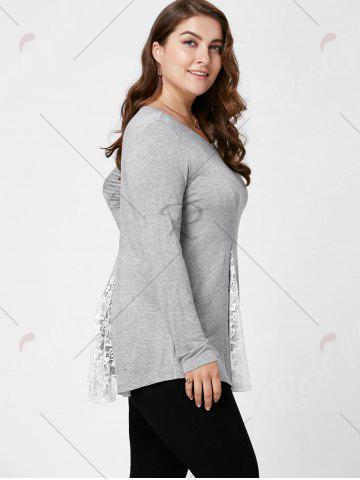 Outfit Plus Size Lace Panel Flare Top - XL LIGHT GREY Mobile