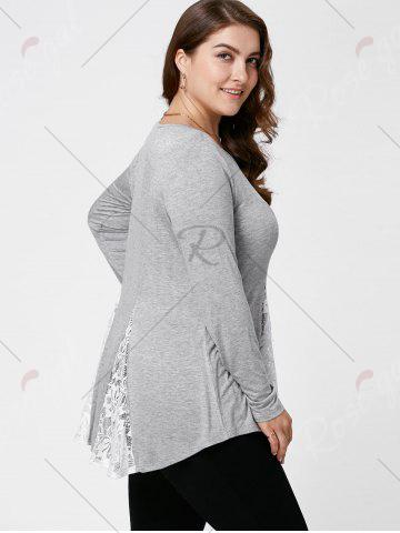 New Plus Size Lace Panel Flare Top - XL LIGHT GREY Mobile